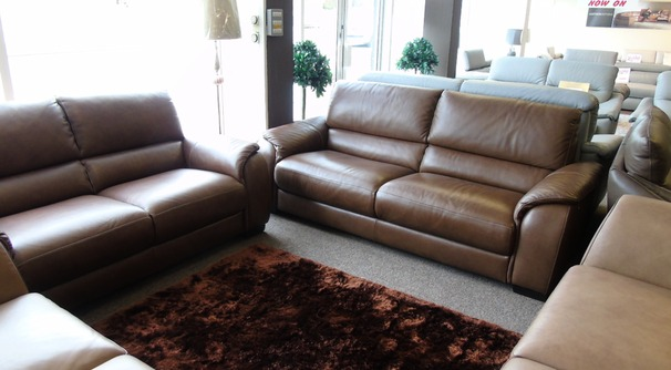 Amalfi 3 seater and 2 seater Oregon brown £2699 (NEWPORT)