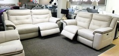 Miami electric recliner 3 seater and 2 seater beige fabric £1799 (NEWPORT) - Click for more details