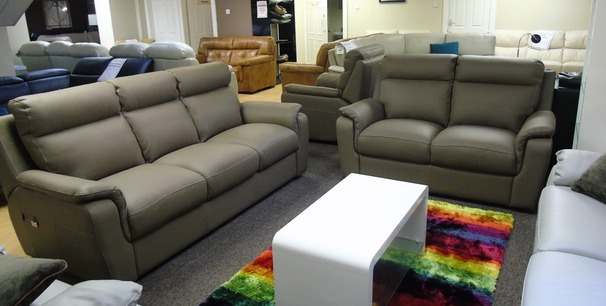 Italian leather 3 seater and 2 seater taupe hide £1999 (SUPERSTORE)