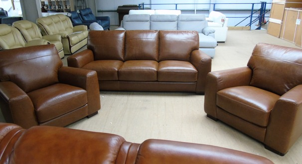 PORTO 3 seater and 2 chairs vintage tan £1799 (SUPERSTORE)