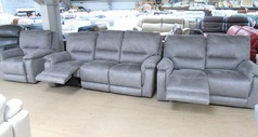 Melanie recliner 3 seater and 2 seater  and electric recliner chair grey fabric £1799 (SUPERSTORE) - Click for more details