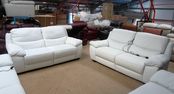 Marino electric recliner 3 seater and 3 seater white £1999 (SUPERSTORE)