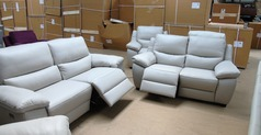 Marino 3 seater and 2 seater stone hide £2399 (SWANSEA  SUPERSTORE) - Click for more details