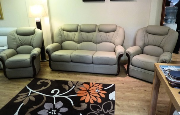 Garda 3 seater and 2 chairs stone beige £1599 (SWANSEA SUPERSTORE)