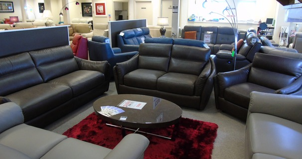 Anzio 3 seater, 2 seater and chair brown £3448 (CARDIFF)