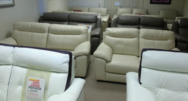 TRENTO 3 seater and 2 seater beige hide £1499 (CARDIFF)