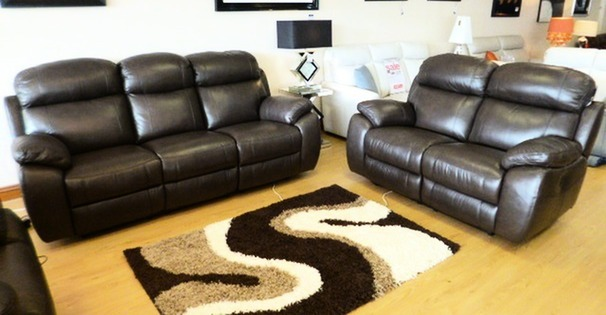 Barcelona electric recliner 3 seater and 2 seater brown leather £2299 (SUPERSTORE)