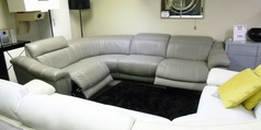 Lipari 4 seater double electric recliner corner suite grey £2499 (SUPERSTORE) - Click for more details