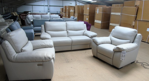 Marino electric recliner 3 seater and 2 electric recliner chairs stone leather £2599 (SUPERSTORE)