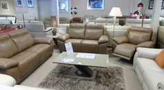 Torino 3 seater, 2 seater and electric recliner chair natural beige £3499 (CARDIFF) - Click for more details