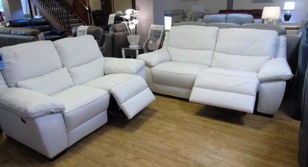 Marino electric recliner 3 seater and 2 seater white £2399 (SWANSEA)