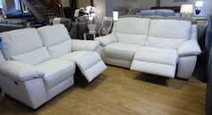 Marino electric recliner 3 seater and 2 seater white £2399 (SWANSEA) - Click for more details