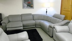 LIPARI double electric recliner corner suite -grey leather £2499 (SWANSEA) - Click for more details