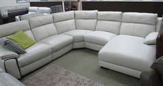 Orleans  recliner chaise corner suite frost £2999 (SWANSEA) - Click for more details
