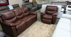 Lille  3 seater and electric recliner chair -brown-dark piping £1699 (SUPERSTORE) - Click for more details