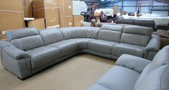Lipari 5 seater double electric recliner corner suite grey £2849 (SUPERSTORE) - Click for more details