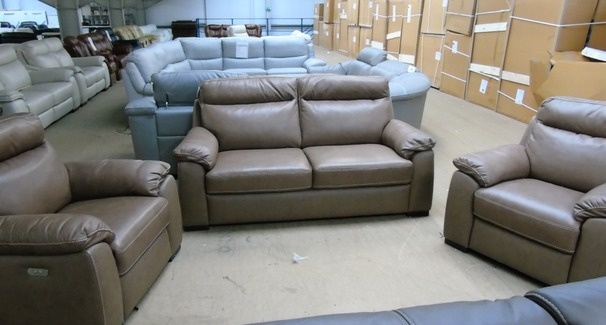 LATINA 3 seater and 2 electric recliner chairs sand hide £2499 (SUPERSTORE)