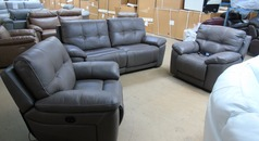 MODENA electric recliner 3 seater and 2 electric recliner chairs grey £1999 (SUPERSTORE) - Click for more details