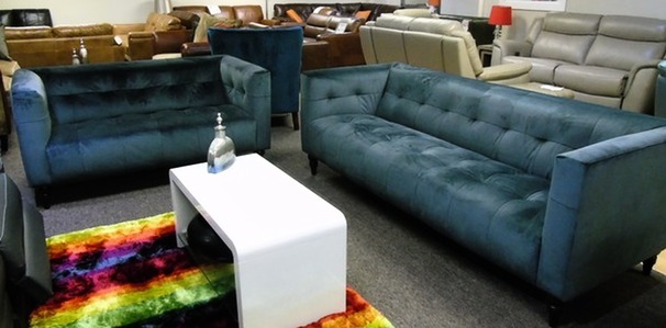 Chelsea 3 seater and 2 seater blue crushed velvet £799 (SUPERSTORE)