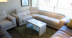 TREVI cream leather corner suite and chair £2499 (SUPERSTORE) - Click for more details