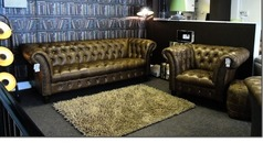 Chesterfield 3 seater and club chair vintage brown £1999 (SUPERSTORE) - Click for more details