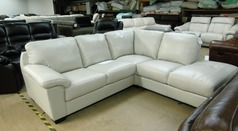 BARESI grey leather corner suite £999 (CARDIFF SUPERSTORE) - Click for more details