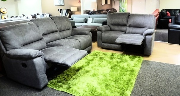 Melanie manual recliner 3 seater and 2 seater grey fabric £1299 (CARDIFF SUPERSTORE)