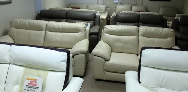 TRENTO 3 seater and 2 seater beige hide £1499 (CARDIFF SUPERSTORE)