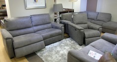 Geneva electric recliner 3 seater and 1 electric recliner chair grey fabric £1398 (CARDIFF SUPERSTORE) - Click for more details