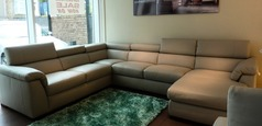 BELIZE large chaise corner stone leather £3499 (CARDIFF SUPERSTORE) - Click for more details