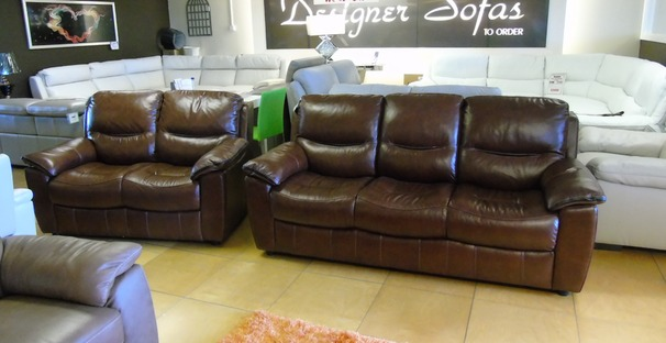 Lille 3 seater and 2 seater chestnut brown £1899 (CARDIFF SUPERSTORE)