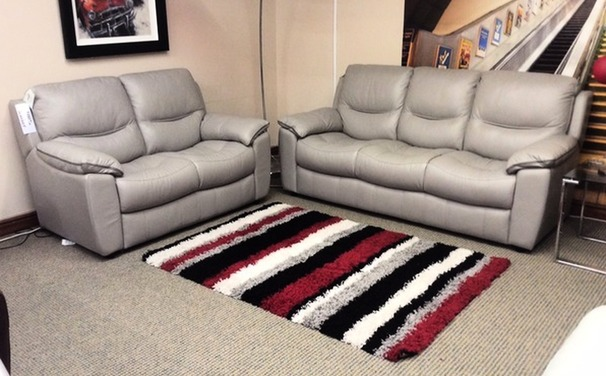 Lille 3 seater and 2 seater grey leather £1649 (CARDIFF SUPERSTORE)