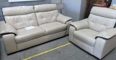 Lyon 3 seater and 1 chair stone /dark stripe £499 (CARDIFF SUPERSTORE) - Click for more details