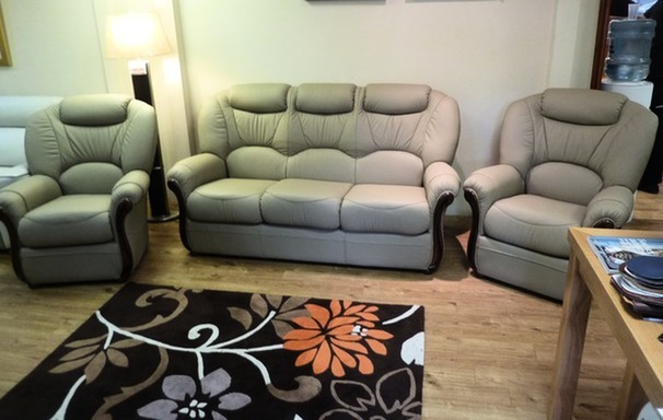 Garda 3 seater and 2 chairs stone beige £1599 (CARDIFF SUPERSTORE)