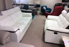 Lyon 3 seater and 2 recliner  seater -white/ purple  stripe £1599 (CARDIFF SUPERSTORE) - Click for more details