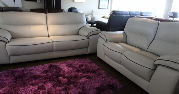 NAPA 3 seater and 2 seater stone with taupe piping £2199 (CARDIFF SUPERSTORE)