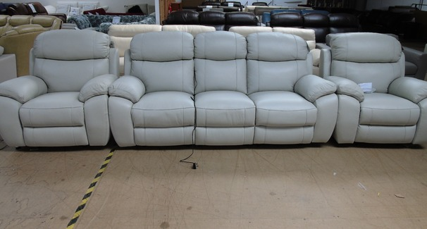 Barcelona electric recliner 3 seater and 2 electric recliner chairs in stone hide £2899 (SWANSEA SUPERSTORE)