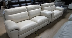 TRENTO 3 seater and 2 seater beige hide £1499 (SWANSEA SUPERSTORE) - Click for more details