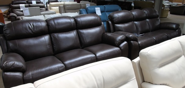 Barcelona electric recliner 3 seater and 3 seater antique brown £1999 (SWANSEA SUPERSTORE)