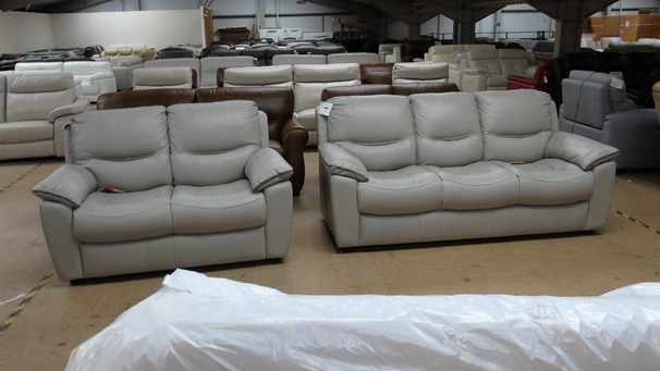Lille 3 seater and 2 seater grey leather £1649 (SWANSEA  SUPERSTORE)