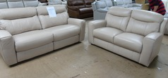 Grenoble electric recliner 3 seater and 2 seater biscuit hide £1799 (SWANSEA SUPERSTORE) - Click for more details