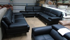 Fraisse right hand facing corner and 3 seater sofa black £1399 (SWANSEA SUPERSTORE) - Click for more details