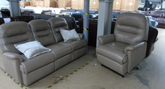Leather 3 seater and riser lifter chair sand  £799 (SWANSEA SUPERSTORE) - Click for more details