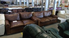Vintage leather 3 seater and 2 seater mid tan £399 (SUPERSTORE) - Click for more details