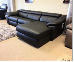 Catania double elctic recliner chaise sofa black £2999 (SWANSEA  SUPERSTORE) - Click for more details