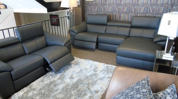 Catania double electric recliner chaise sofa black and double electric recliner 2 seatre £4999 (SWANSEA  SUPERSTORE)