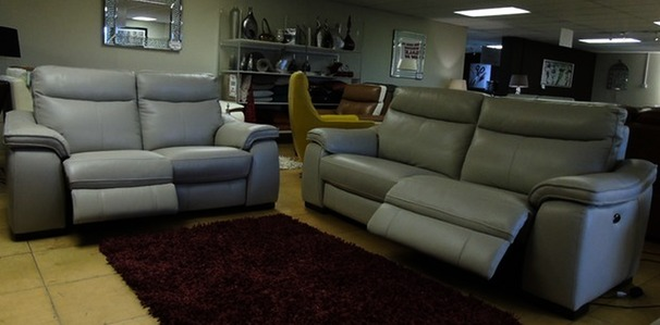 Marseille double electric 3 seater and 2 seater stone grey £2799 ( SWANSEA SUPERSTORE)