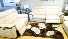 Miami electric recliner 3 seater and 2 seater  biscuit/dark piping £2699 (SWANSEA SUPERSTORE) - Click for more details