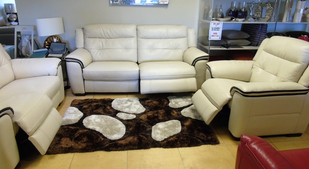 Miami electric recliner 3 seater , 2 seater and chair  biscuit/dark piping £2699 (SWANSEA SUPERSTORE)