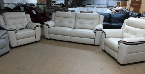 Miami electric recliner 3 seater , and 2 chairs  biscuit/dark piping £2999 (SWANSEA SUPERSTORE)